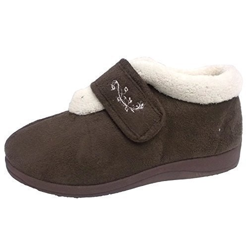 Dunlop Deloris Damen Fleece gefüttert Weite Passform Slipper Stiefel Mokka