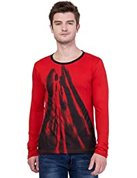 AERO Red Printed Cotton Round Neck Slim Fit Full Sleeve Men's T-Shirt