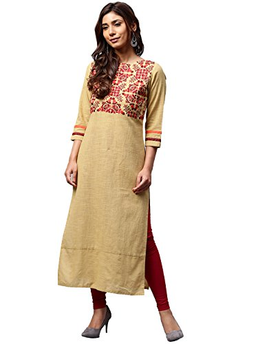 Jaipur Kurti Women Beige Solid Embroidered Straight Cotton Slub Kurta