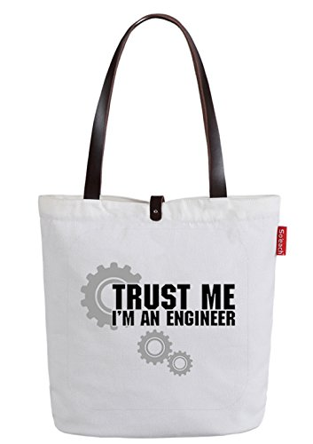So'each Women's Trust Me I'm Engineer Letters Top Handle Canvas Tote Shoulder Bag White