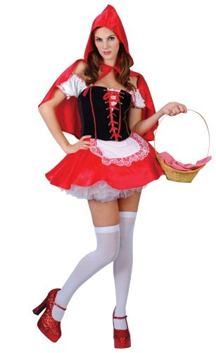 Adult Red Hot Riding Hood Fancy Dress ()