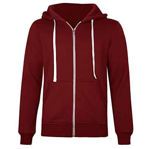Cassiecy Herren Kapuzenpullover Winter Langarm Casual Hoodie Pullover Zipped Kordelzug Basic Sweatshirt Sweatjacke (XL, Weinrot) Hoody Herren Casual-sweatshirts