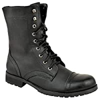 LADIES WOMENS LOW HEEL FLAT LACE UP BIKER ARMY MILITARY COMBAT ANKLE BOOTS SIZE (UK 5 / EU 38 / US 7, Black Faux Leather)