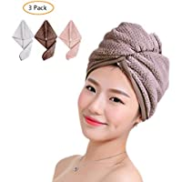 3 Pack Microfiber Hair Towel Turban Wrap for Women Girls, Super Absorbent Fast Hair Drying Cap with Button,Lightweight,Anti Frizz, Soft Bath Shower Head Dryer Towel Hat for Long Thick HairQuickly