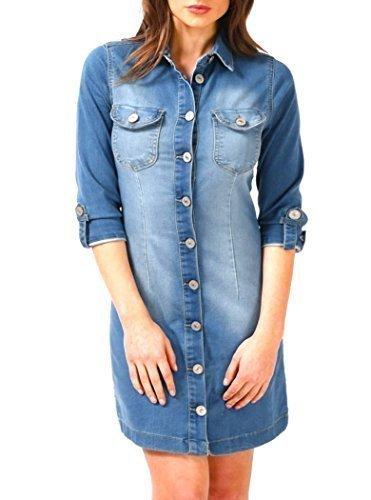 SS7 NEU Langleine Denim Blau Hemd Kleid, Größen eu 36 - 14 Denim Blau