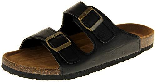 Dunlop uomo sandali estivi leggeri in pelle sintetica nero eu 43