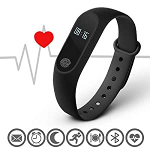 Stealkart Xiaomi Mi Redmi Note 5 / Note 5 Pro/Note 6/ Note 4 Compatible M2 OLED Screen Fitness Band with Live Heart Rate Monitor, Smart Band Waterproof, Activity Tracker Steps, Calories Counter