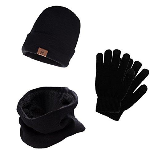 Tuopuda® Gorro Bufanda Guantes Set de Invierno para Hombre y Mujer Gorro de punto Bufandas Caliente Guantes de Pantalla Táctil (negro)