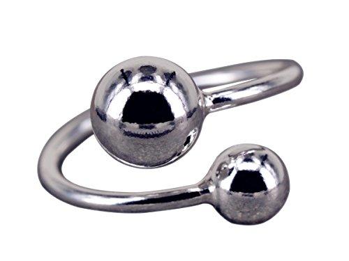 NicoWerk Silberring Kugel Doppel Schlicht Glatt Glänzend Ring Silber 925 Verstellbar Damenringe Damen Schmuck SRI239