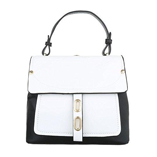 Schultertasche Handtasche Tragetasche Schwarz Weiß Schwarz