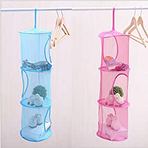Leoie 2pcs Set New Hanging Mesh Storage Basket Toys Organizer 3 Compartments