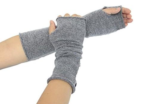 Prettystern - Armwärmer lange Stulpen 100% Kaschmir fingerlose Pulswärmer weich soft Handstulpen - grau (Kombi Guanti Invernali)