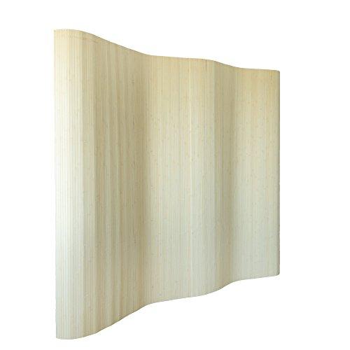 Homestyle4u 303, Raumteiler Bambus, Wellenform Rollbar, Natur Matt, BxH 250x200 cm (Screen Shoji Raumteiler)