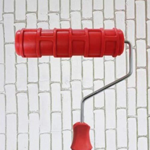 TUDO17.5Cm / 6.8Inch DIY Muster Farbroller Für Wand-Dekoration Mit Kunststoff Griff, Rot (Farbroller Für Wand-dekoration)