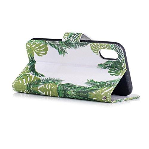 iPhone 8 Hülle,Fodlon® Mode Gemalt Karte Schlitze mit Schlüsselband Telefon Schutzhülle -Grüne Blätter Grüne Blätter