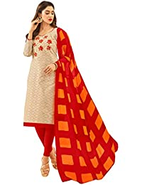 Women'S Beige Semi Stitched Embroidered Jacquard Dress Material