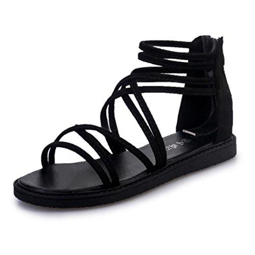 Schwarze Sandalen Aus Leder-multi (Sandals Damen Sommer Btruely Strand Schuhe Böhmen Sandals Mädchen Bandage Schuhe Frauen Flache Sandalen Flip Flops Draussen Schuhe (39, Schwarz))