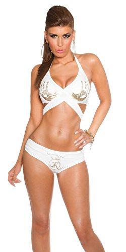 KouCla Damen Neckholder-Wickel-Bikini mit HandPrint Weiß