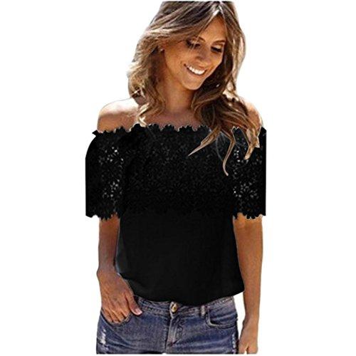 Jamicy Camicetta in chiffon casuale delle donne sexy fuori dal merletto della spalla Nero