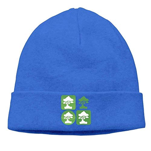 Bonsai Tree Icon Knit Hats for Men and Women Winter Warm Slouchy Skull Hat Fashion Beanie Caps Icon Knit Visor Beanie
