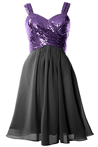 MACloth Gorgeous Sequin Short Bridesmaid Dress Cowl Back Cocktail Formal Gown Purple-Black