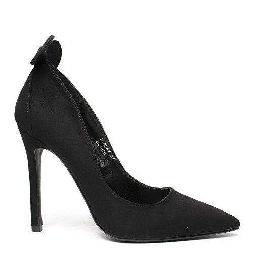 Ideal Shoes Escarpins Effet Daim avec Oreilles de Souris Minnia Noir