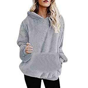 Resplend Damen Kapuzenmantel 2018 Kapuzenpullover Oberteile Reißverschluss Taschen Sweatshirt Winter Warm Wollmantel Casual Lange Ärmel Kapuzenpulli Outwear