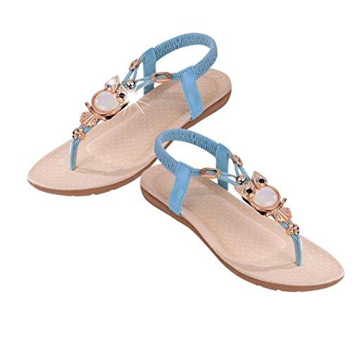 Ouneed® Sandali da spiaggia per donna con strass e gufetto. Blu