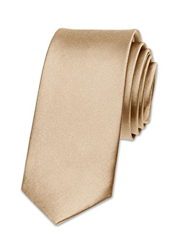 Autiga Krawatte Herren Hochzeit Konfirmation Slim Tie Retro Business Schlips schmal, Champagner, unisize
