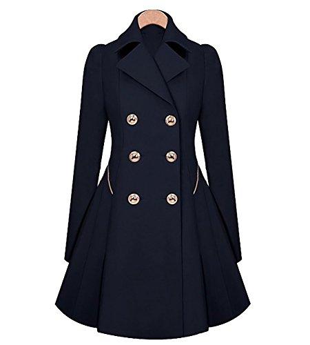Lungo cappotto soprabito eleganti giacca cappotto giubbotto trench slim fit vintage swing marina militare m