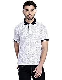 GLASGOW White Slim Fit Cotton Rich Polo T Shirt - B06XKPSL8W
