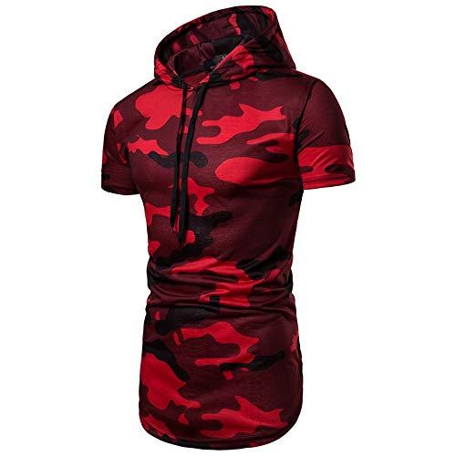 KaloryWee 2018 Herren Herbst Kapuzenpullover Hoodie Sweatshirt Casual Camouflage Kurzarm Pullover