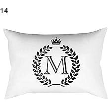 Rectangular funda de almohada Fashion Crown alfabeto impresión funda de cojín decoración para el hogar, poliéster, 14#, talla única