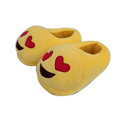 YUMOMO Unisex Herren und Damen nett Cartoon weichem Plüsch warme Pantoffeln schlüpfen 35-42 (Liebe, Herzform) (Plüsch Umweltfreundliche)