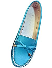 Fheaven Women Summer Flats Shoes Casual Bowknot Ruched Non-Slip Slips Boat Flat Loafers Shoes (China Size:40(US...
