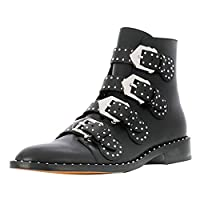 aznz Women Low Heel Short Boots Buckle Strap Ankle High Leather Booties Rivets Colors Black-Leather Size 6 UK
