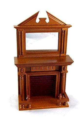 Miniatura Per Casa Delle Bambole 1:12 Mobili Di legno Color noce Caminetto con mantello Specchio
