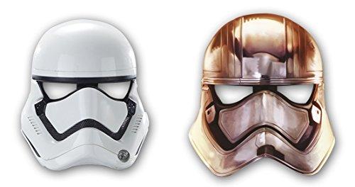 4108OPEewkL - 6 máscaras de papel * Star Wars VII * Para niños de cumpleaños y lema-fiesta // Juego de máscaras revestimiento de diseño de The Force despierta Lucas película de Darth Vader Yoda de la guerra de estrellas Disney episodio clones kylo puertas