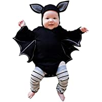 Janly For 0-2 Years Old Baby, Boys Girls Halloween Cosplay Costume Toddler Bat Pattern Romper + Hat