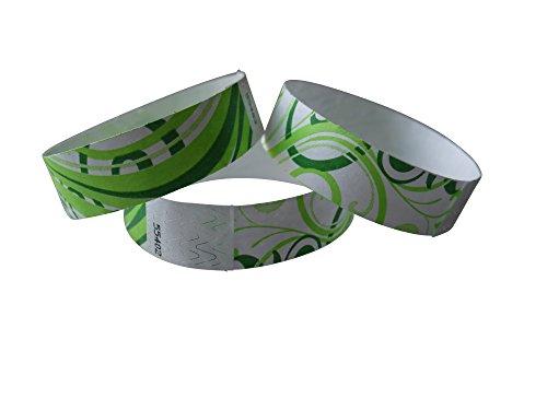 Tyvek Braccialetti di controllo con stampa verde NATURALE 100 pezzi