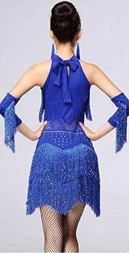 Honeystore 2016 Neuheiten Damen Quasten Swing Rhythmus Jazz Latein Dance Kleid Blau