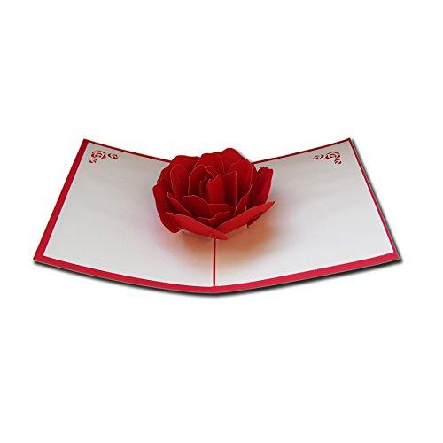 LivelyBuy Rote Rose 3D Papier Pop up Postkarten Liebe Geschenk Grußkarte Souvenir Party Supplies