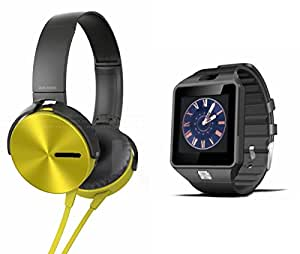 MIRZA Extra Extra Bass XB450 Headphones & DZ09 Bluetooth Smart Watch for LG class(XB 450 Headphones,With MIC,Extra Bass,Headset,Sports Headset,Wired Headset & Bluetooth DZ09 Smart Watch Wrist Watch Phone with Camera & SIM Card Support Hot Fashion New Arrival Best Selling Premium Quality Lowest Price with Apps like Facebook, Whatsapp, Twitter, Sports, Health, Compatible with Android iOS Mobile Tablet-Assorted Color)
