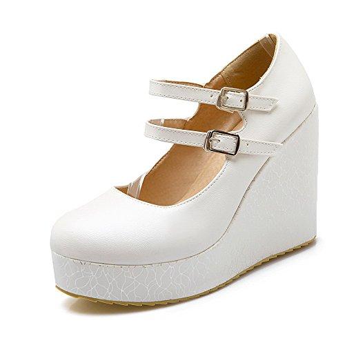 VogueZone009 Femme à Talon Haut Matière Souple Couleur Unie Rond Chaussures Légeres Blanc
