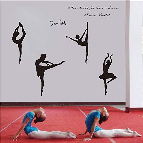 Waofe Große Größe 150X65 CmLiebe Ballett BallettMädchen Wohnungen Wandkunst Aufkleber Aufkleber, Ballett Figuren Aufkleber Cm (Hochzeit Wohnungen Ballett)