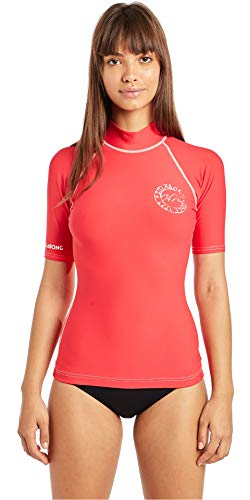 BILLABONG Womens Logo Kurzarm Rash Vest Top Sunset Red - UV50 +. Brust-Logo-Print - Neopren-Taillenband