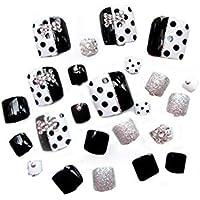24 unidades Puntos Impresión errónea clavos brillantes Corto Artificial falsa Toe Nails Variedad Toe clavos con