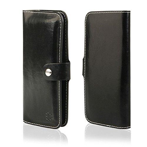 Portefeuille à rabat de protection Housse à rabat latéral compatible pour MOTOROLA MOTO g5s Plus – Housse Coque Etui Cover Book Case Portefeuille Noir