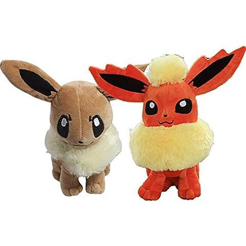 2 Pcs nuevo Pokemon Eevee juguete de felpa suave de 8.5
