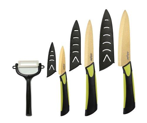 Dailycious ®, Lot de 4 Pièces Céramique TITANIUM lame Gold// Manche Bi-Color ABS Noir/Silicone Vert //1 Couteau chef 15cm +1 Couteau universel 12,5cm + 1 Couteau office 7,5cm + 1 éplucheur + fourreaux de protection